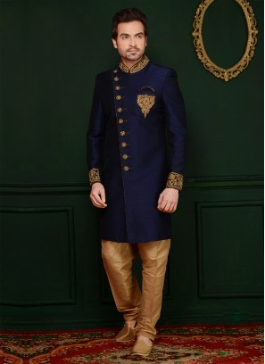 Blue Handwork Sherwani In Art Banarasi Silk Fabric