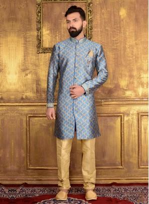 Blue Indo Western Kurta Pajama