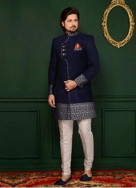 Blue Jute Velvet Brocade Engagement Wear Indo Western Suit