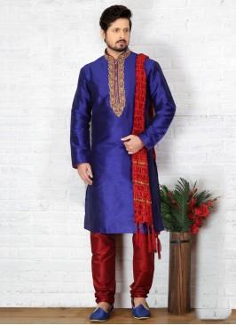 Blue Kurta Pajama For Sangeet Function