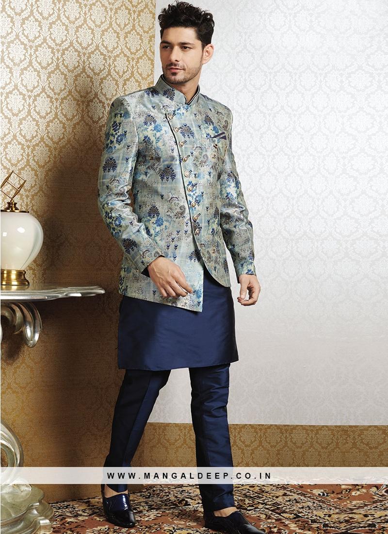 Blue Kurta With Grey Print Jacket