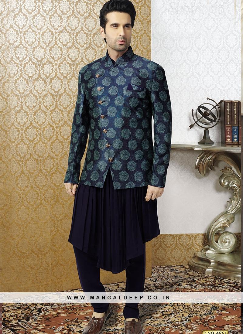 Blue Kurta With Printed Jacket