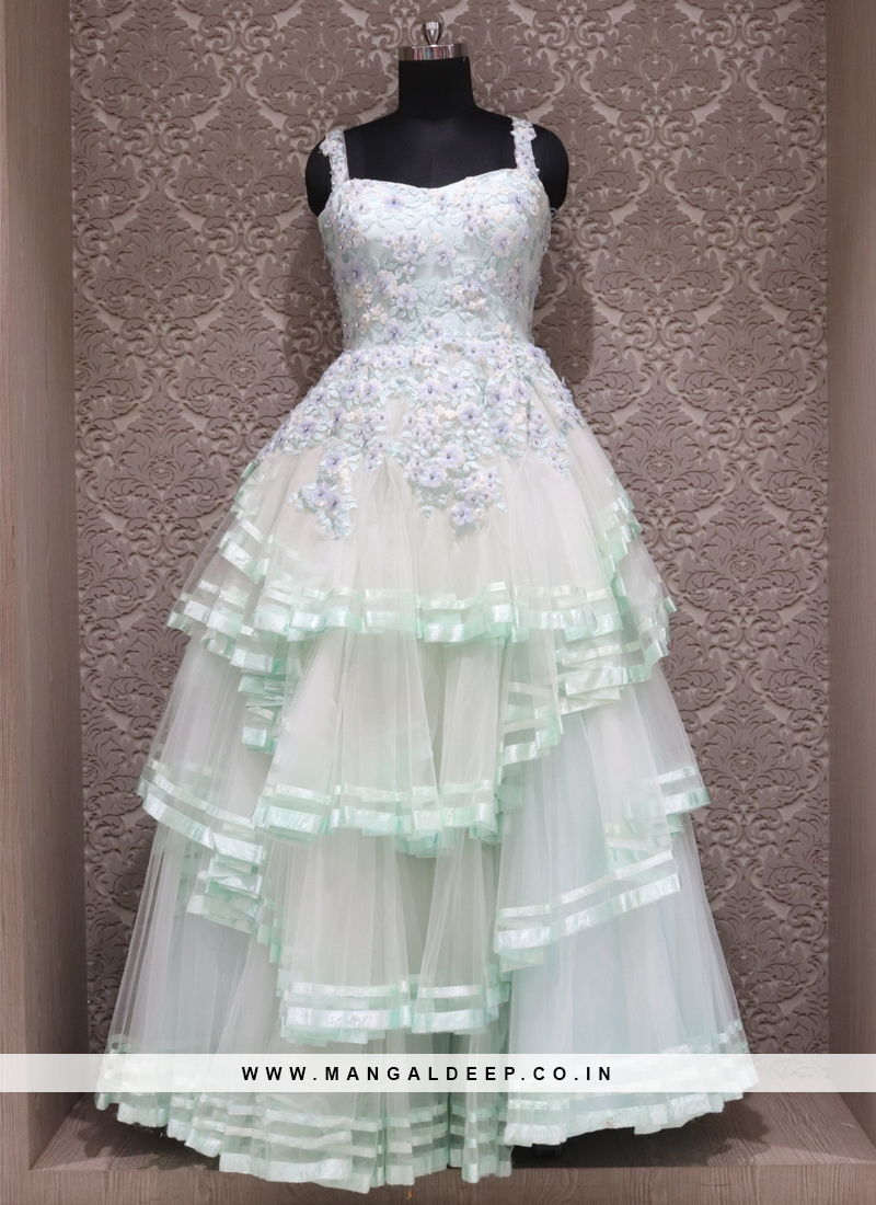 Blue Net Designer Reception Wear Gown