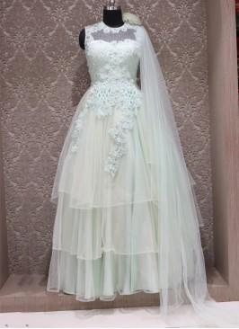 Blue Net Designer Wedding Wear Gown