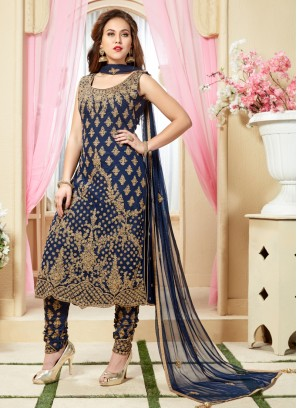 Blue Net Zari Work Designer Partywear Salwar Kameez