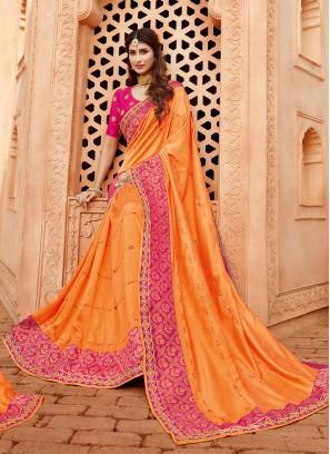 Bold Orange Color Silk Wedding Wear Saree