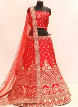 Bold Red Color Silk Zardosi Work Dulhan Lehenga