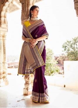 Bold Silk Saree In Purple Color