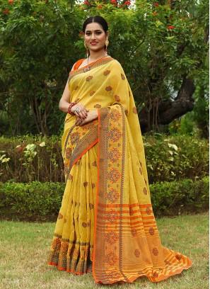 Bold Yellow Color Linen Saree