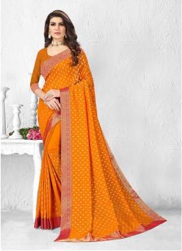 Bold Yellow Color Silk Saree