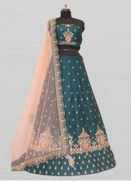 Bottle Green Color Silk Chaniya Choli For Wedding