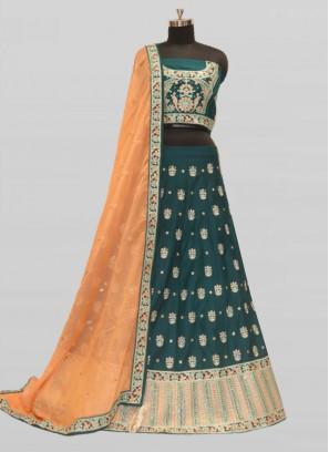 Bottle Green Color Silk Resham Work Lehenga Bridal