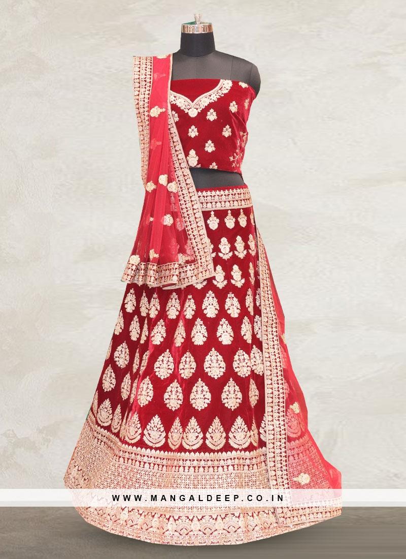 Bridal Wear Maroon Color Designer Lehenga Choli