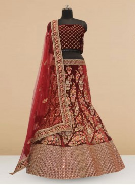 Bridal Wear Maroon Color Embroidered Lehenga Choli
