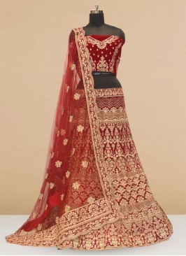 Bridal Wear Maroon Color Embroidered Lehenga Choli