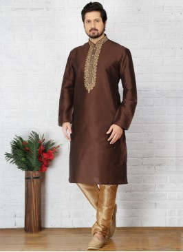 Brown Art Dupion Silk Kurta Pajama