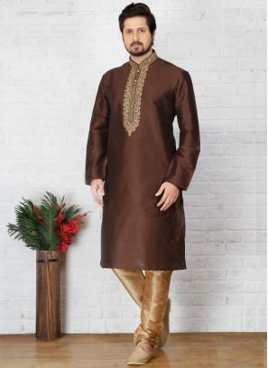 Brown Art Dupion Silk Kurta Pajama