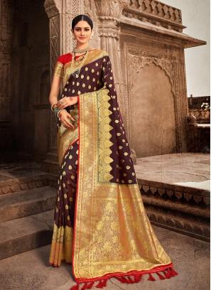 Brown Color Banarasi Saree For Wedding