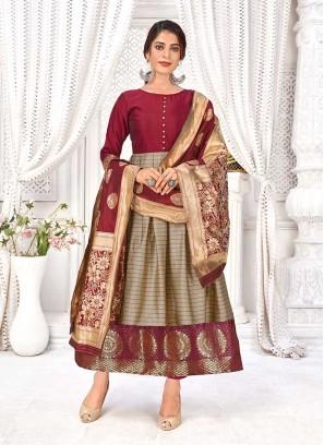 Brown Color Banarasi Silk A Line Kurti