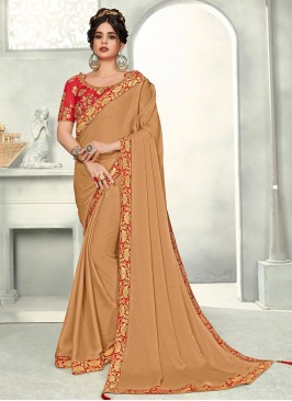 Brown Color Chiffon Saree With Unstitched Blouse