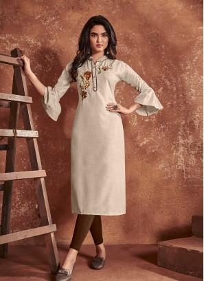 Brown Color Cotton Kurti For Ladies