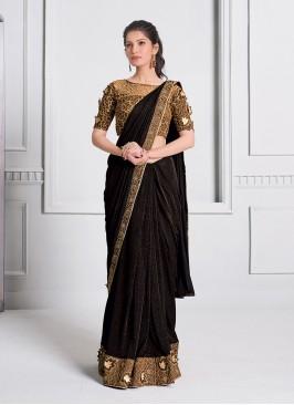 Brown Color Fancy Lyrca Saree