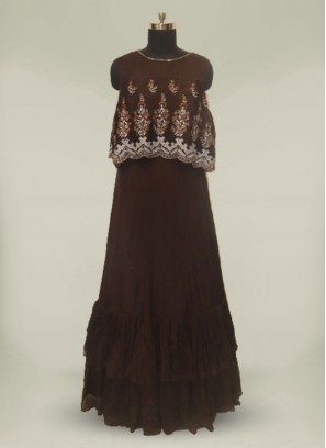 Brown Color Georgette Embroidered Floor Length Gown