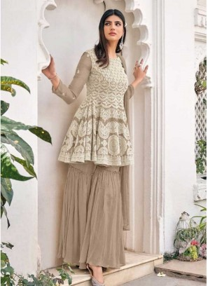 Brown Color Georgette Embroidered Sharara