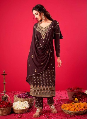 Brown Color Georgette Pakistani Style Dress
