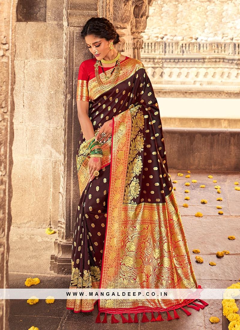 Brown Color Gorgeous Silk Saree