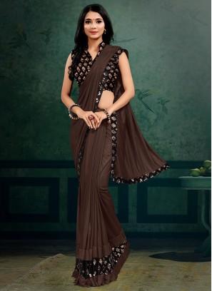 Brown Color Lyrca Elegant Saree
