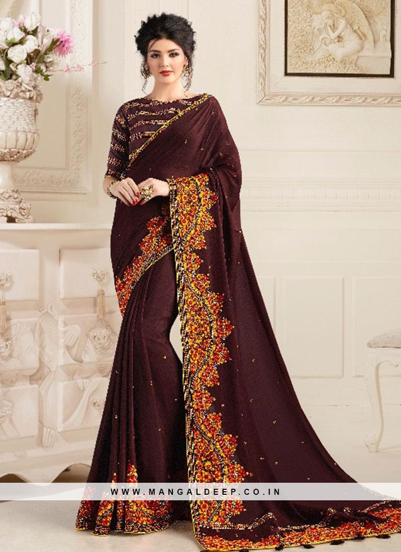 Brown Color Natural Fabric Saree For Ladies