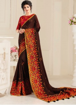 Brown Color Natural Work Festive Wear Saree