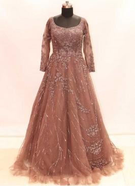 Brown color Net Cut Dana Indian Gown