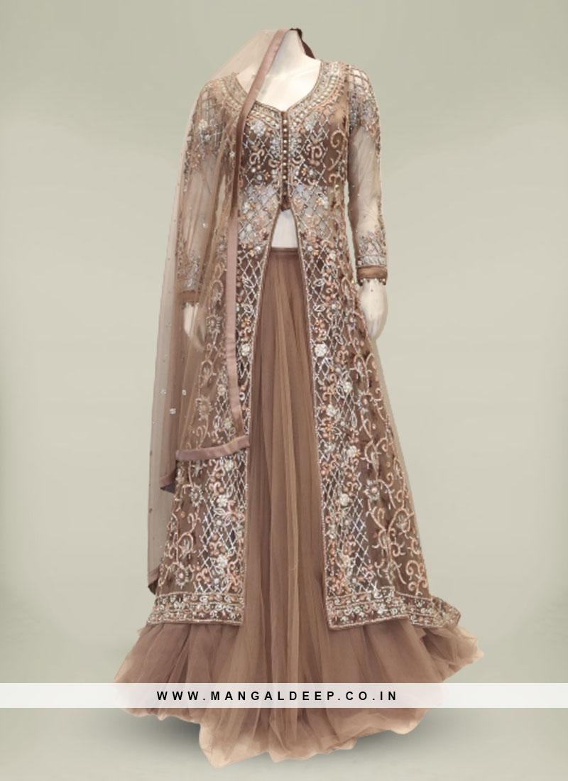 Brown Color Net Diamond Work New Design Sharara Suit