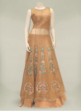 Brown Color Net Hand Work Gharara Dress