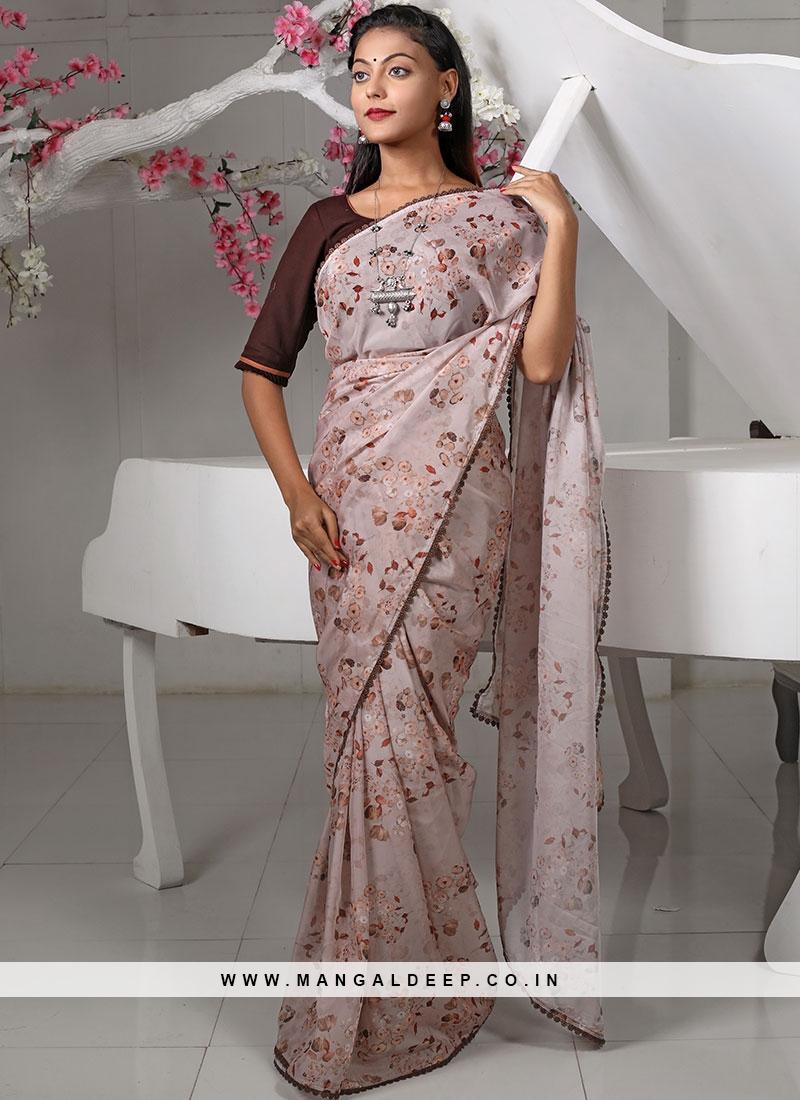 Brown Color Organza Printed Saree