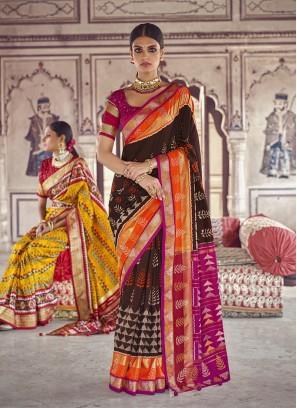 Brown Color Patola Silk Function Wear Saree
