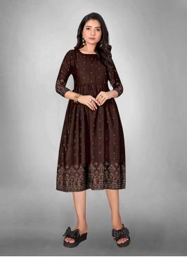 Brown Color Round Style Cotton Kurti