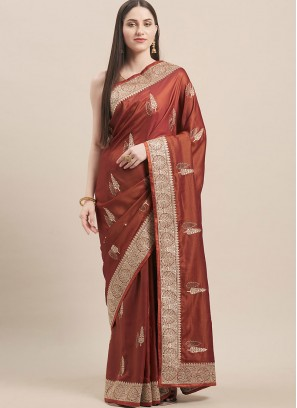 Brown Color Satin Silk Casual Wear Saree