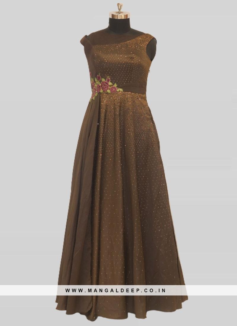 Brown Color Satin Stone Work Sangeeta Function Wear Gown