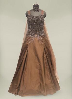 Brown Color Sequins Work Floor Length Gown