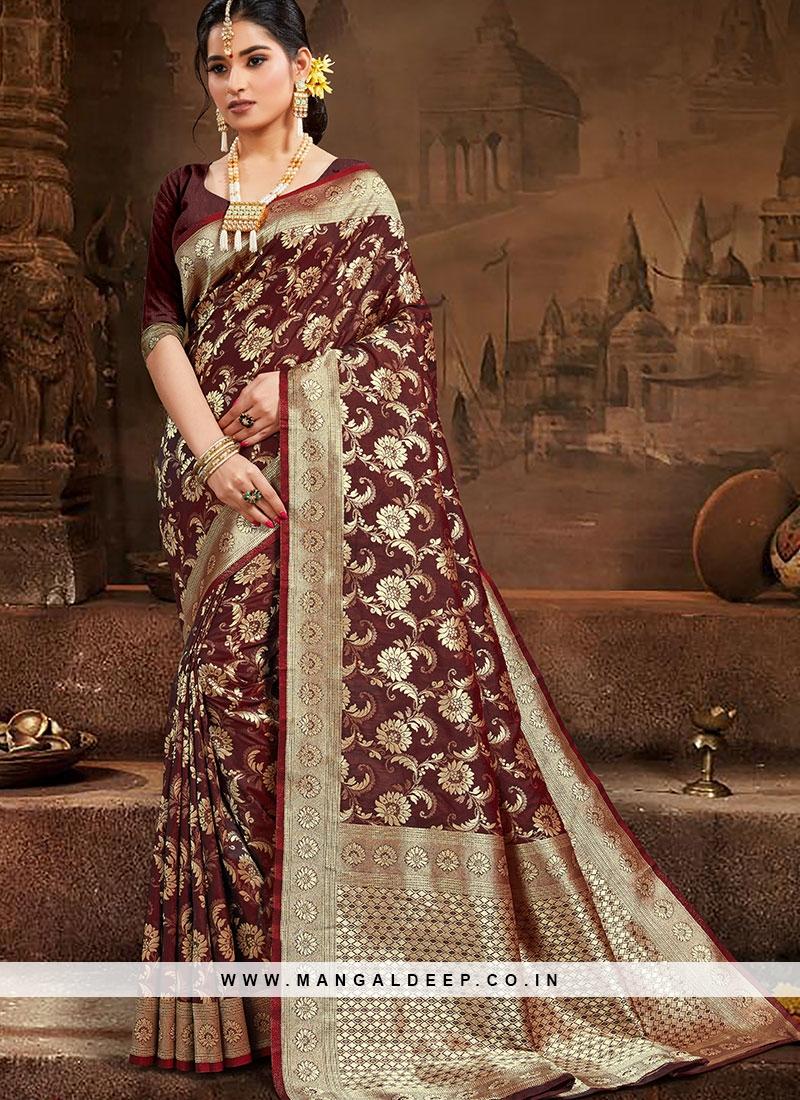 Brown Color Silk Festuve Wear Saree