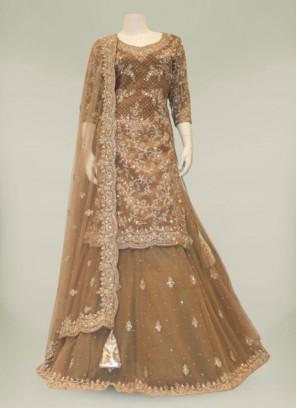 Brown Color Silk Hand Work Sharara Dress Fro Ladies