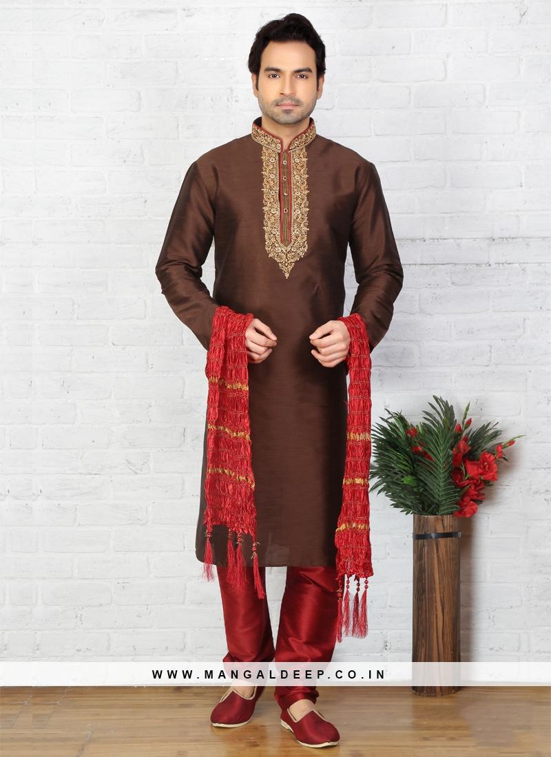 Brown Kurta Pajama For Sangeet Function