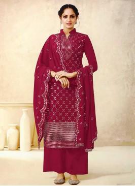 Burgundy Color Georgette Palazzo Suit