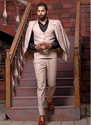 Buttoned Cream Suit Set