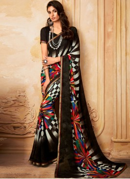 Charming Black Color Party Wear Fancy Georgette Saree