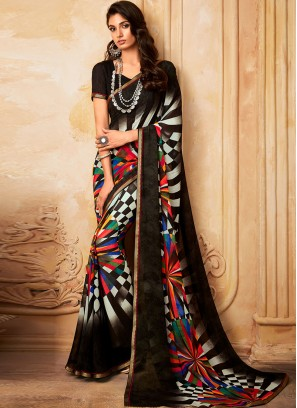 Charming Black Color Party Wear Fancy Georgette Saree