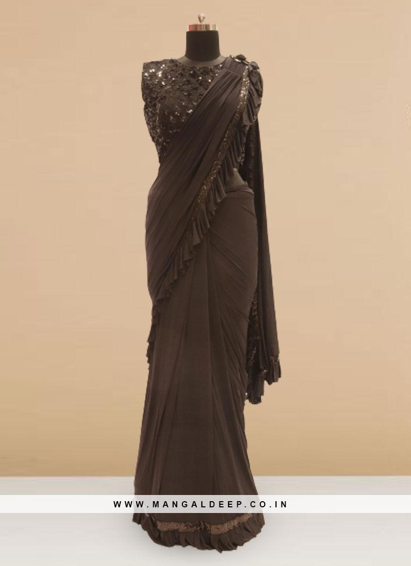 Charming Black Color Sangeet Function Wear Saree